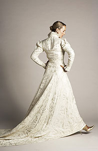 Vintage 1940s Silver and White Brocade Wedding Gown with Extra-long Train :  1940s fashion vintage wedding gown