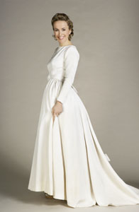 Vintage 1950s Winter White Silk Grosgrain Wedding Gown :  1950s fashion vintage wedding gown