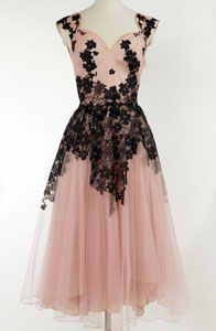 Vintage 1950s Sugar Pink Net Gown with Appliqued Black Floral Lace from marymoorevintage.com